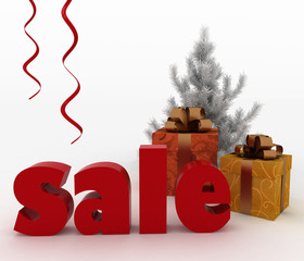 Christmas gift boxes with a word Sale on white background
