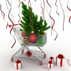 Shopping cart with christmas balls,  fir-tree and gifts