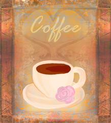 Cup of coffee, vintage card