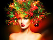 Winter Fashion Model Girl with Christmas tree hairstyle