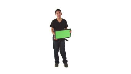 model isolated on white upset with monitor