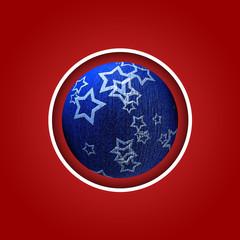 Sfondo rosso con palla di Natale blu con stelle