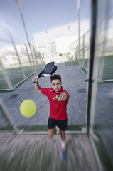 Paddle tennis player and ball