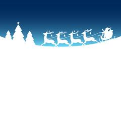 Christmas Sleigh Santa Reindeers Blue