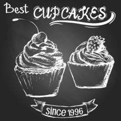 Cupcakes on the blackboard