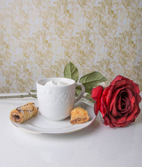 Hot Cocoa with baklava and red rose