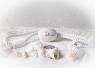 Dream with sand,seashells, and fishnet with vingette