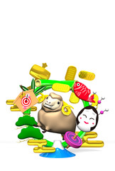 Smile Brown Sheep, New Year's Bamboo Wreath On White