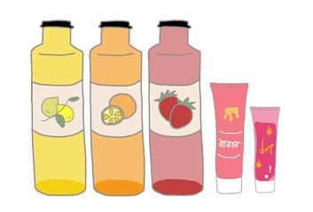 ラベル入り化粧品イラストセット/ピンク