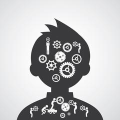 Brain gears symbol