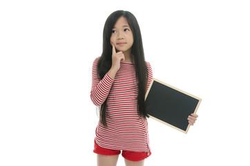 Beautiful asian girl holding chalk board and thinking