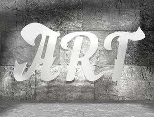 concrete blocks empty room with white art text