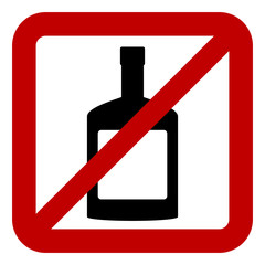 Sign of prohibition of alcohol