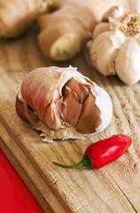 Garlic bulbs, chili pepper and ginger