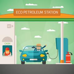 Eco fuel petrol station vector concept
