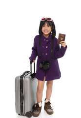 Beautiful asian girl with  baggage,holding passport