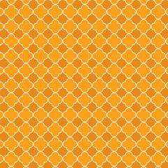 Repeating orange quatrefoil trellis background