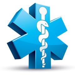 Emergency ambulance medicine symbol.