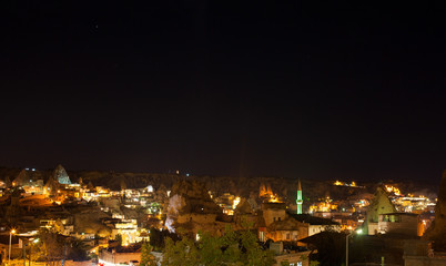 beautiful night view of Cappadokia Goreme in Turkey