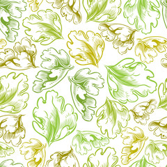 Vintage style seamless background with leaves.