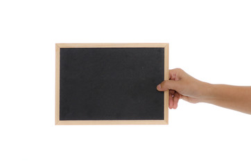 Woman hand holding blackboard