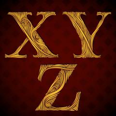 Floral letters x y z.