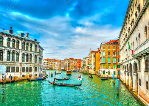 Traffic from Gondolas in Main Canal of Venice Italy. HDR process - 73167579