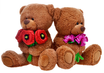 toy teddy bears with flowers