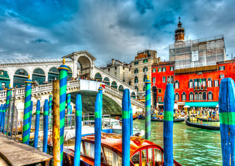 The famous Rialto bridge at Venice Italy. HDR processed
