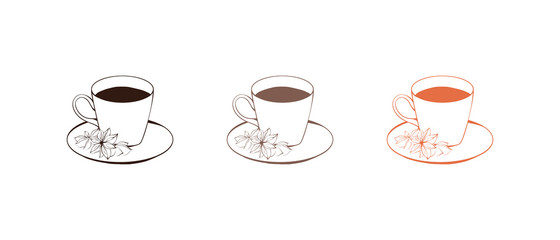 Outline Sketch Cup of Coffee with Star Anise Isolated on White
