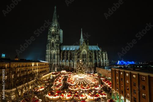 Leinwandbild Motiv Kölner Weihnachtsmarkt am Dom