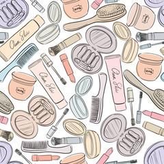 Cosmetics seamless background.