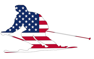 Usa Flag in skier  silhouette, vector , white background