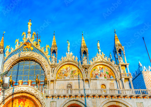 Fotobehang Venice The famous St Mark's Basilica church at Venice Italy. HDR