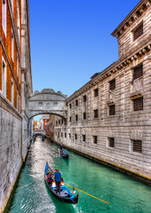 The famous Bridge of Sighs at Venice Italy. HDR processed