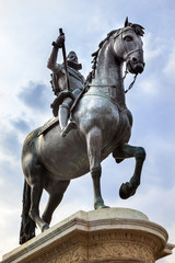 King Philip III Equestrian Statue Plaza Mayor Cityscape Madrid