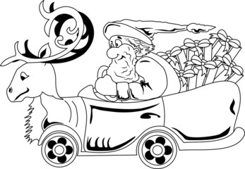 Santa Claus driving car with Christmas gifts