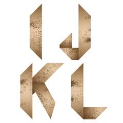 Origami letters i, j, k, l.