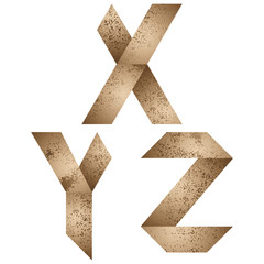 Origami letters x, y, z.