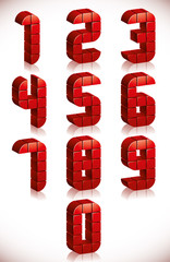 Red 3d numbers set made in digital style.
