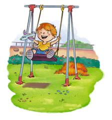 niño jugando en columpio