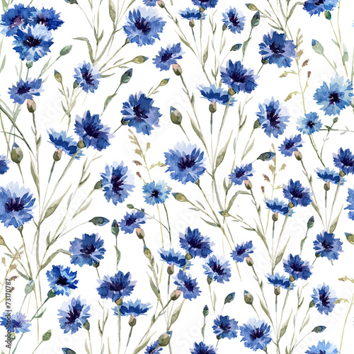 Cotton fabric Blue flowers 9