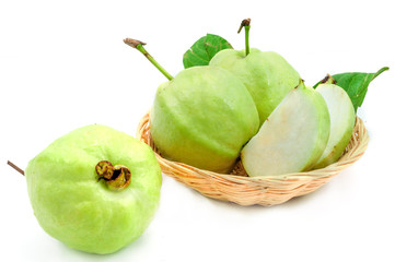 Guava (tropical fruit) on white background