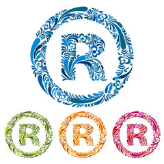 R symbol, vector illustration.