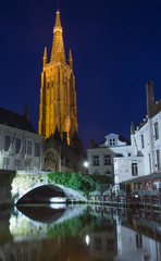 Dijver canal and the  Church of Our Lady at nigh (Bruges)