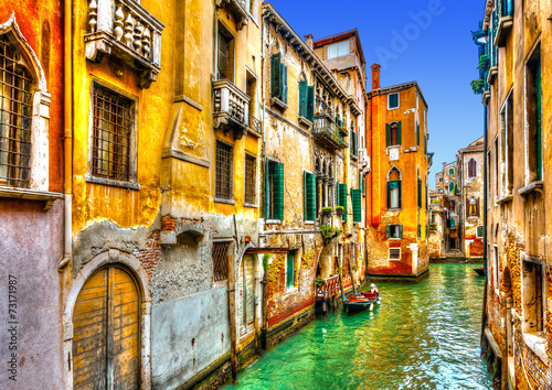 Beautiful view of a canal in Venice Italy. HDR processed - 73171987
