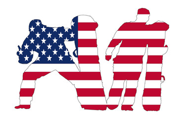 Usa Flag in snowboarders silhouette, vector , white background