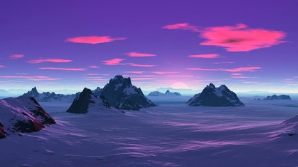 Pink sunset in the snowy wilderness