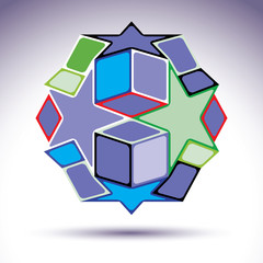 Complicated kaleidoscope 3d spherical object constructed from co