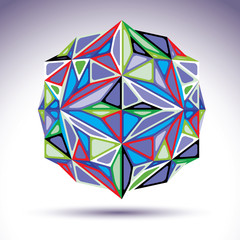 Complicated 3d object with kaleidoscope effect, abstract vector